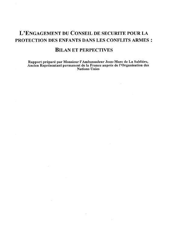 L'Engagement du Conseil de Securité Pour la Protection de Enfants Dans Les Conflits Armés