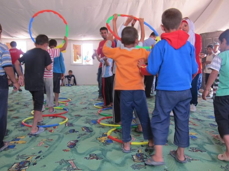 Children playing in a child-friendly space in Zaatari camp in Jordan. Copyrights: Stephanie Tremblay/ OSRSG-CAAC